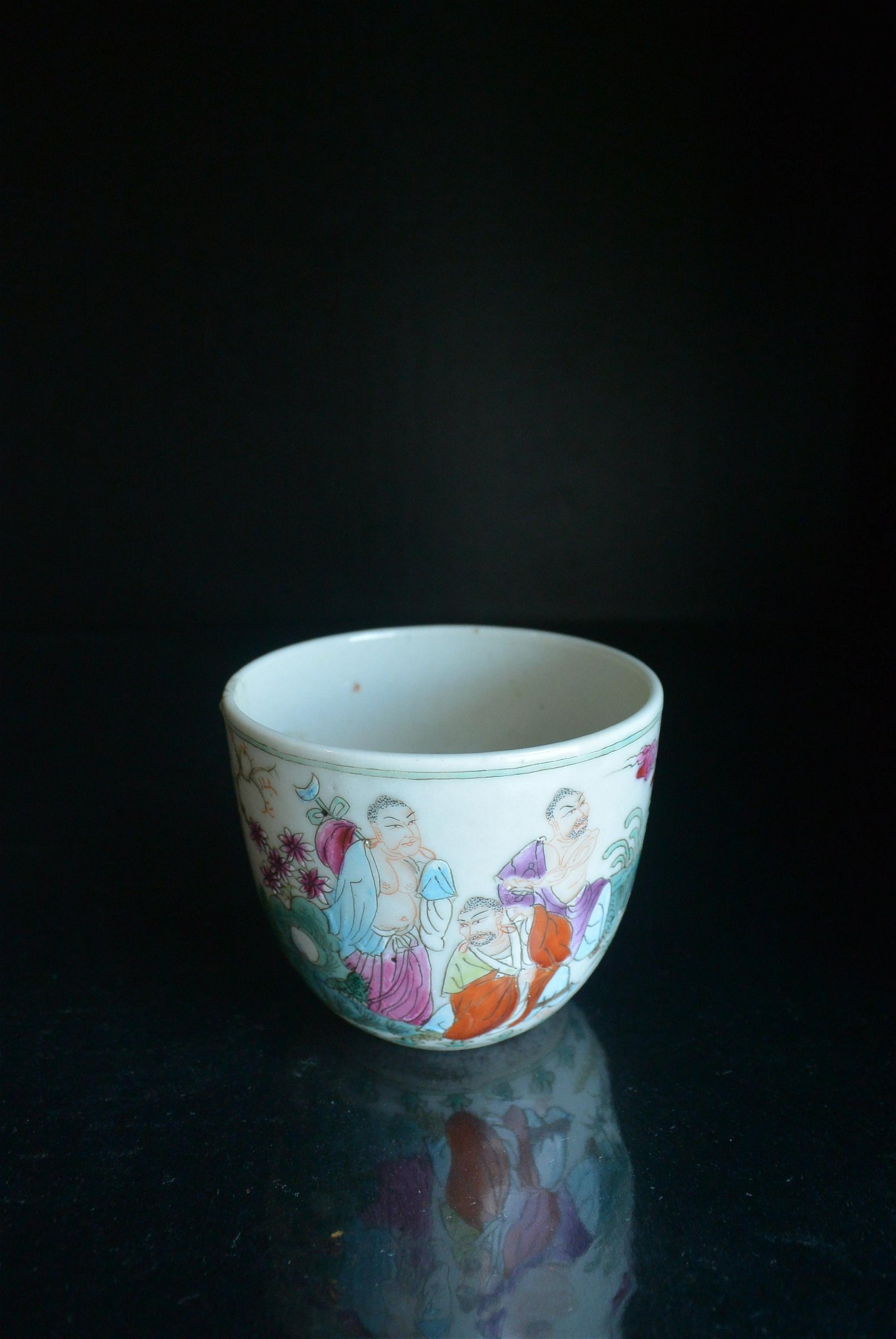 Finely Chinese Porcelain Cup Famille Rose the Nine