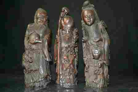 Qing Dynasty bamboo carving 3 gods