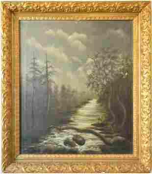 Painting, Vintage Old European-American Landscape Oi