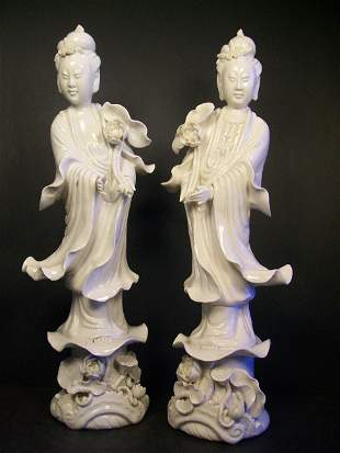 Porcelain, Pair of Blanc de Chine figure of guanyin.