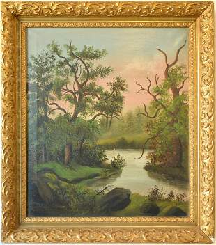 Vintage 100 Years Old European-American Landscape Oil P