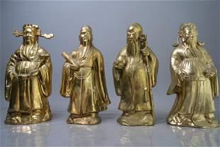 4 Pis Antiques Fu-Lu-Shou-Xi four gilt tin figures