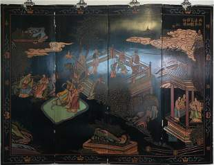 FOUR PANEL CHINESE BLACK LACQUERED INLAID SCREEN