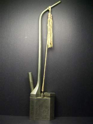 A Finely And Rare Chinese White Metal Water Pipe