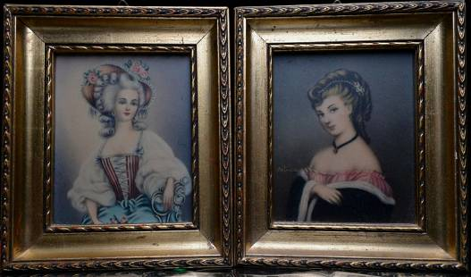 Two pieces of western lady painting pendant