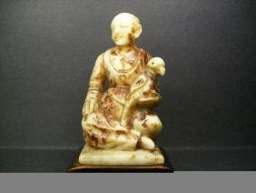 Antiques Shou-Shan Fu-Rong Stone Carved a Maiden and P