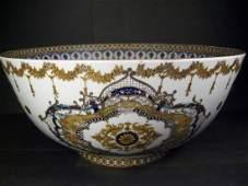 A Very Rare Circular Form Porcelain Punch Bowl-40.7cm