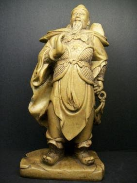 A Chinese SHOUSHAN stone carved GUANGONG figure