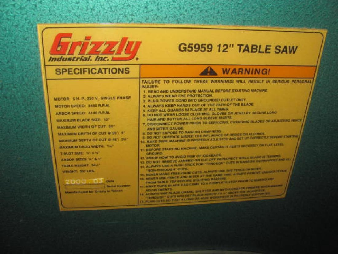 "Grizzly 12"" G5959 Table Saw - 3"