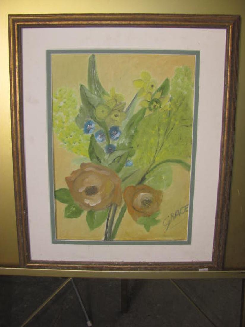 Floral Oil on Canvas by Grace