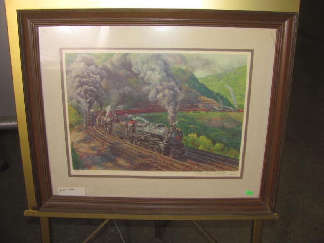 1981 Signed Locomotive Train Print