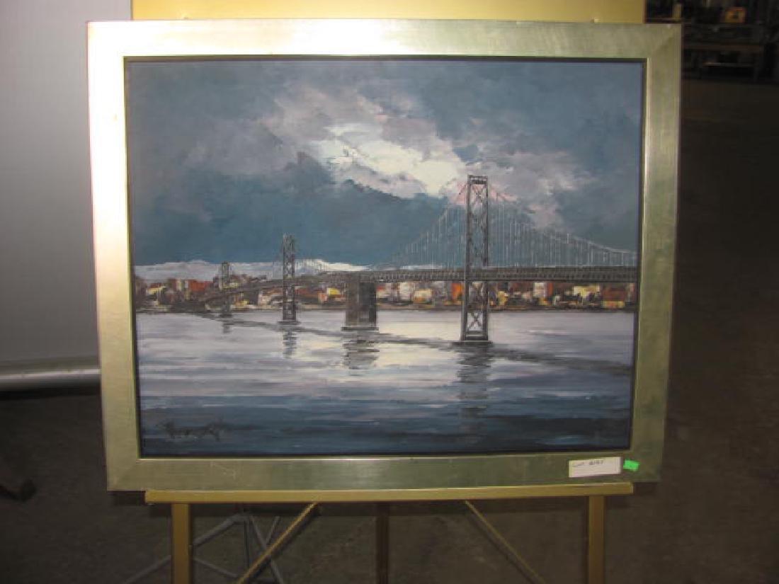 Cityscape Bridge Oil on Canvas