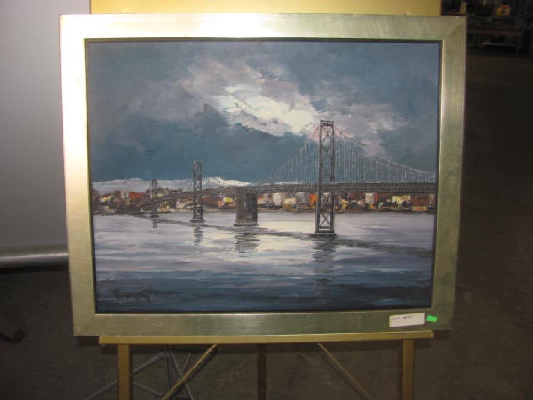 Cityscape Bridge Oil on Canvas