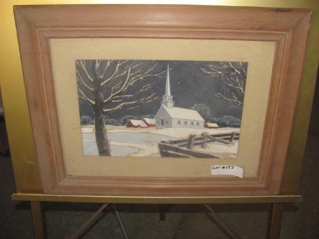 Church Winter Scene Oil Painting