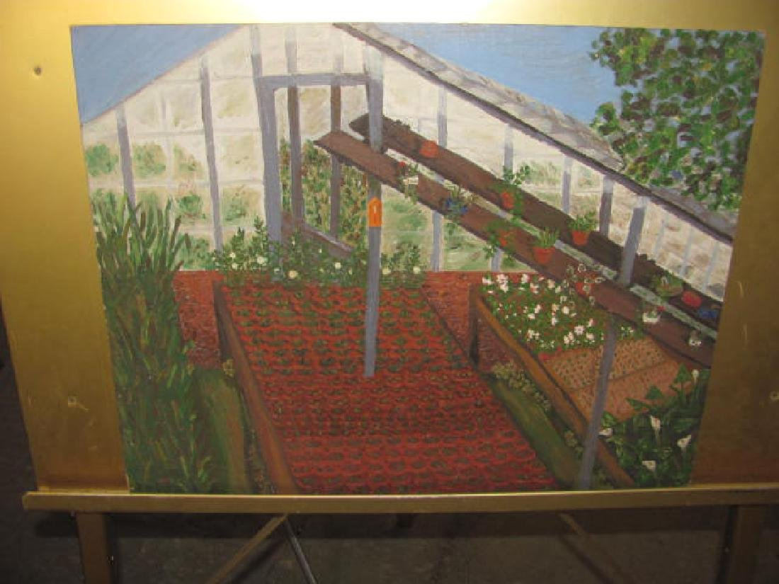 Oil on Board Greenhouse