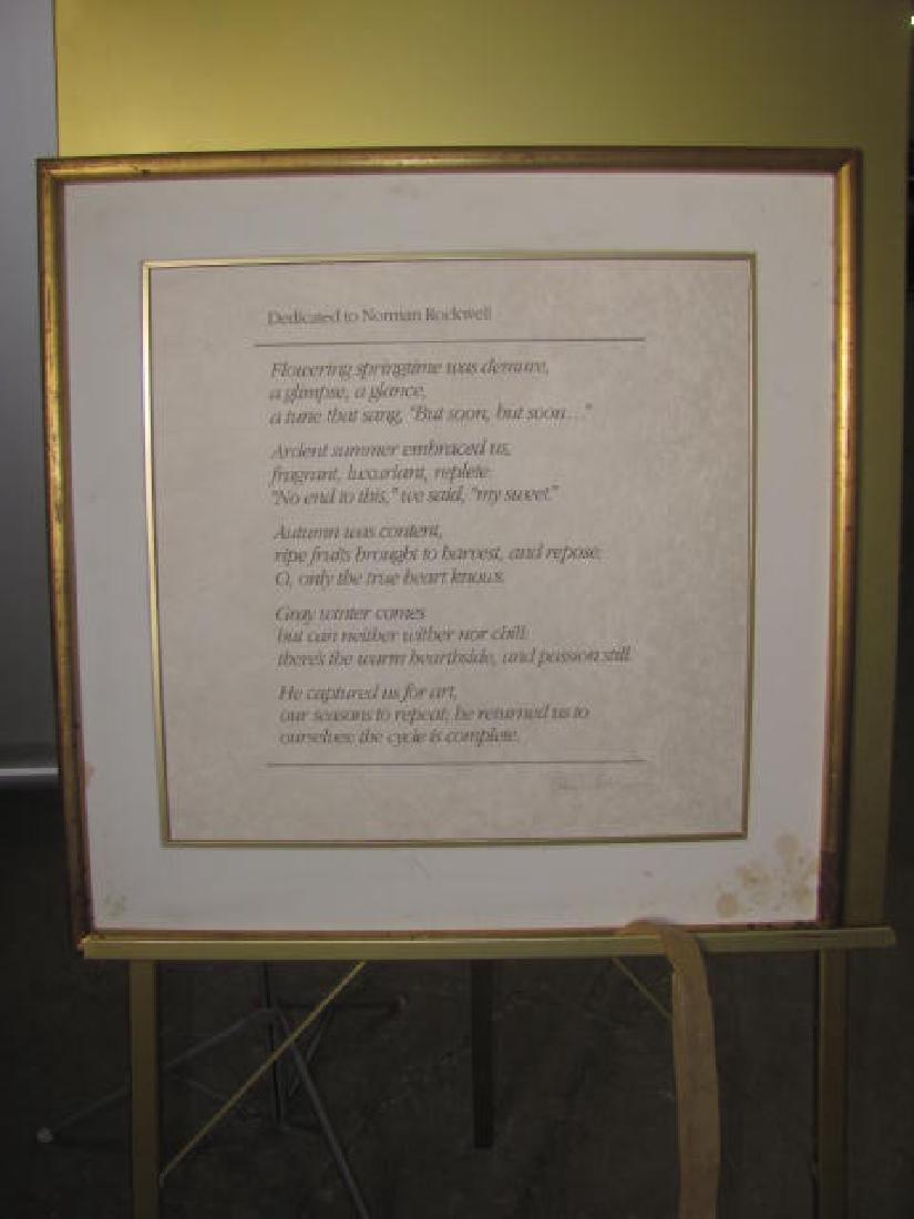Norman Rockwell Framed Dedication