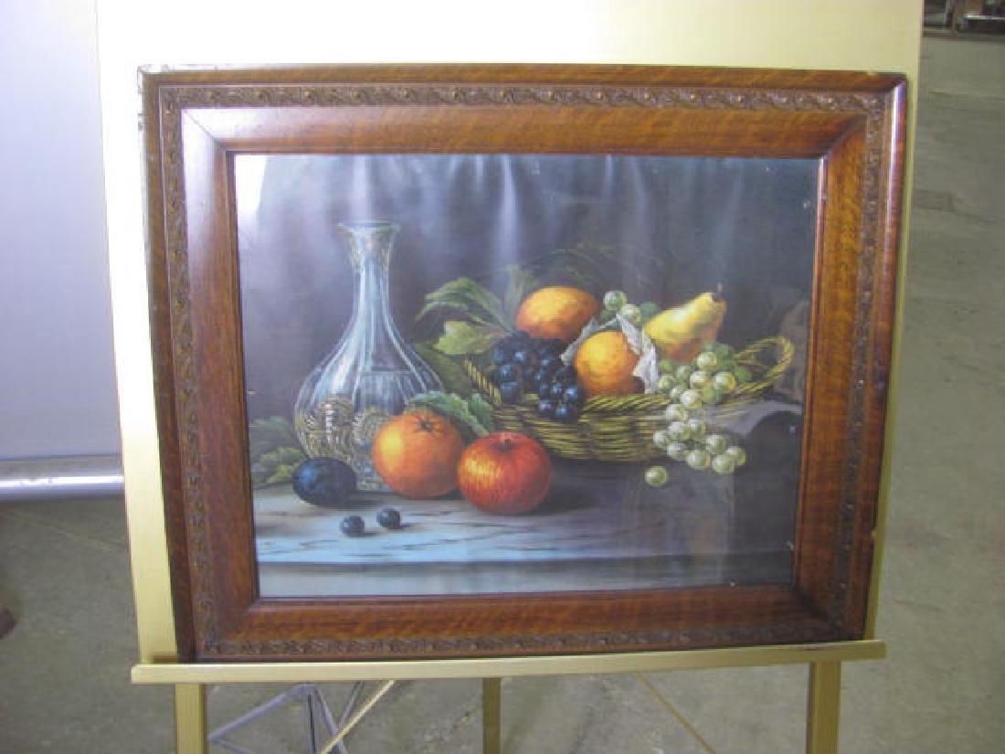 Fruit Still Life in Oak Frame