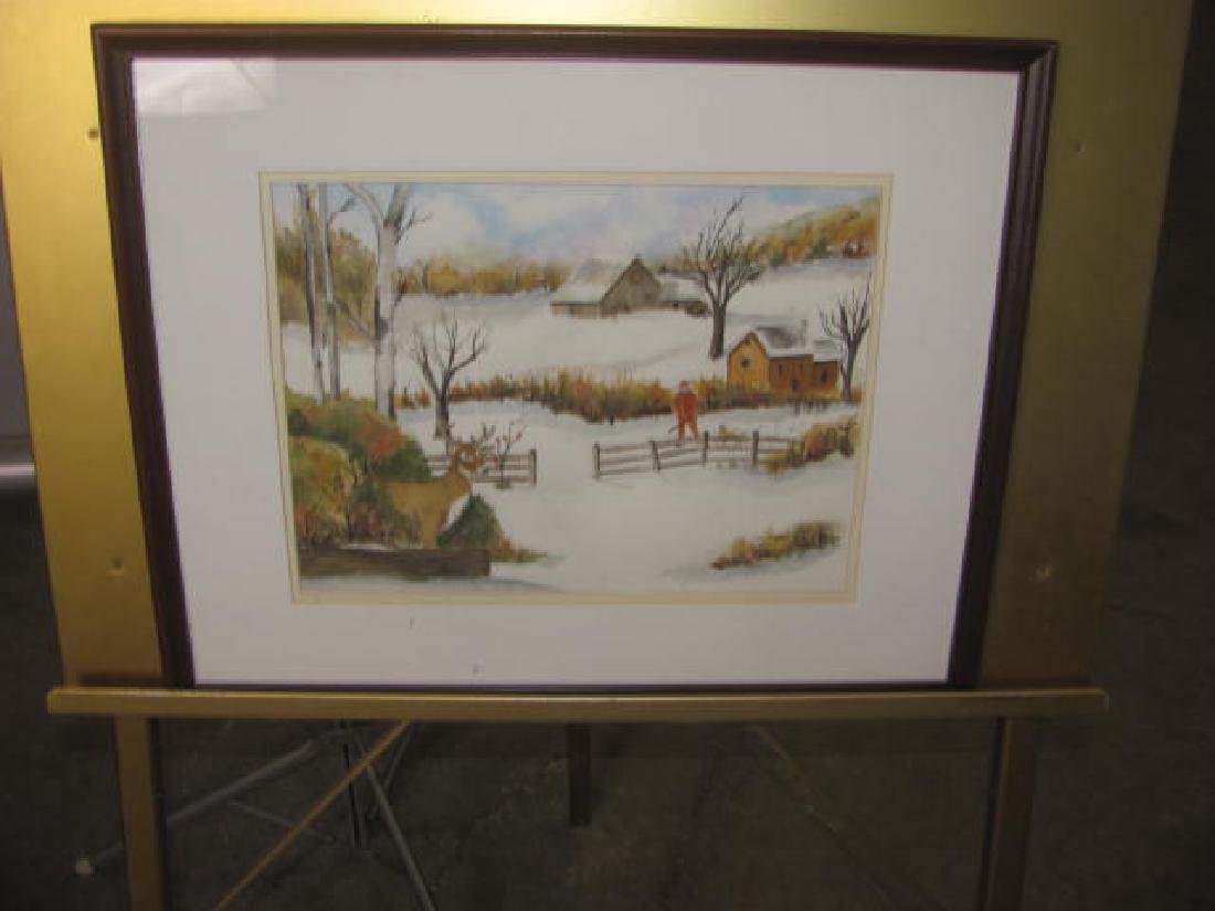 Winter Hunting Scene Watercolor