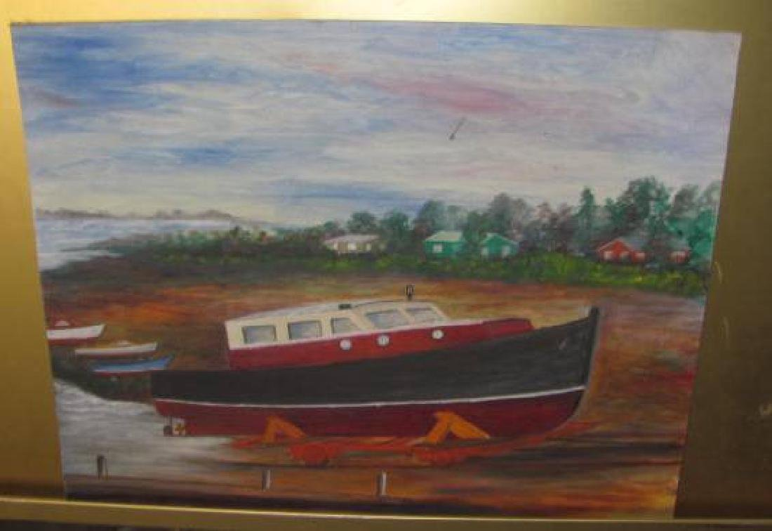 Oil on Board Boat Nautical Painting