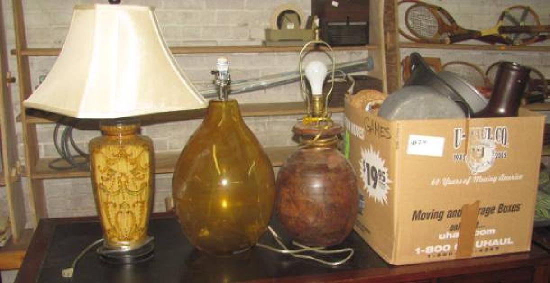 3 Table Lamps & Box Lot