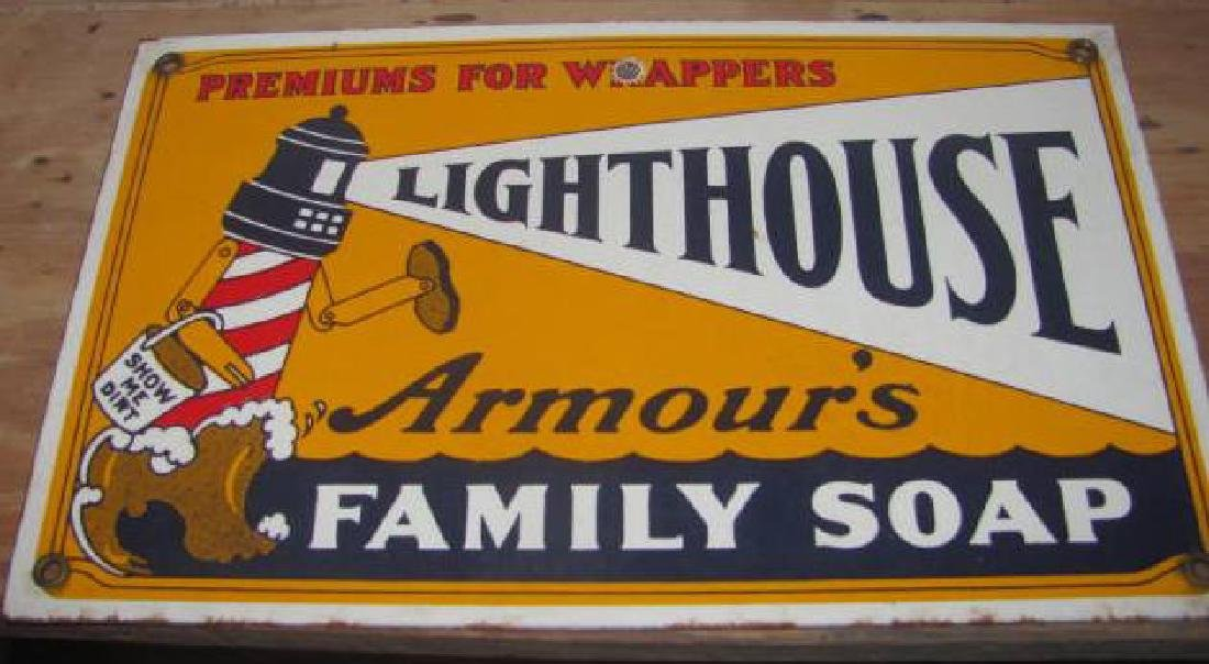 Armours Lighthouse Soap Sign