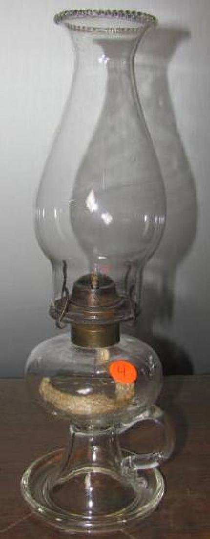 Early Kerosene Lamp Glass Font Drip Handle