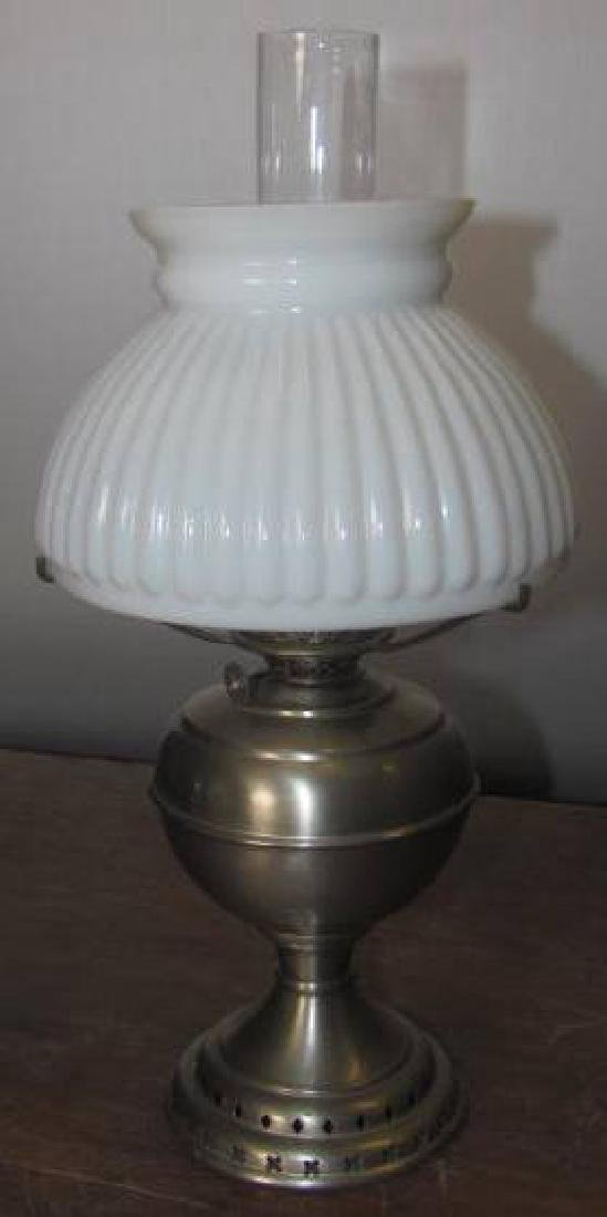 Min Lamp Nickel Base w/ White Ribbed Shade