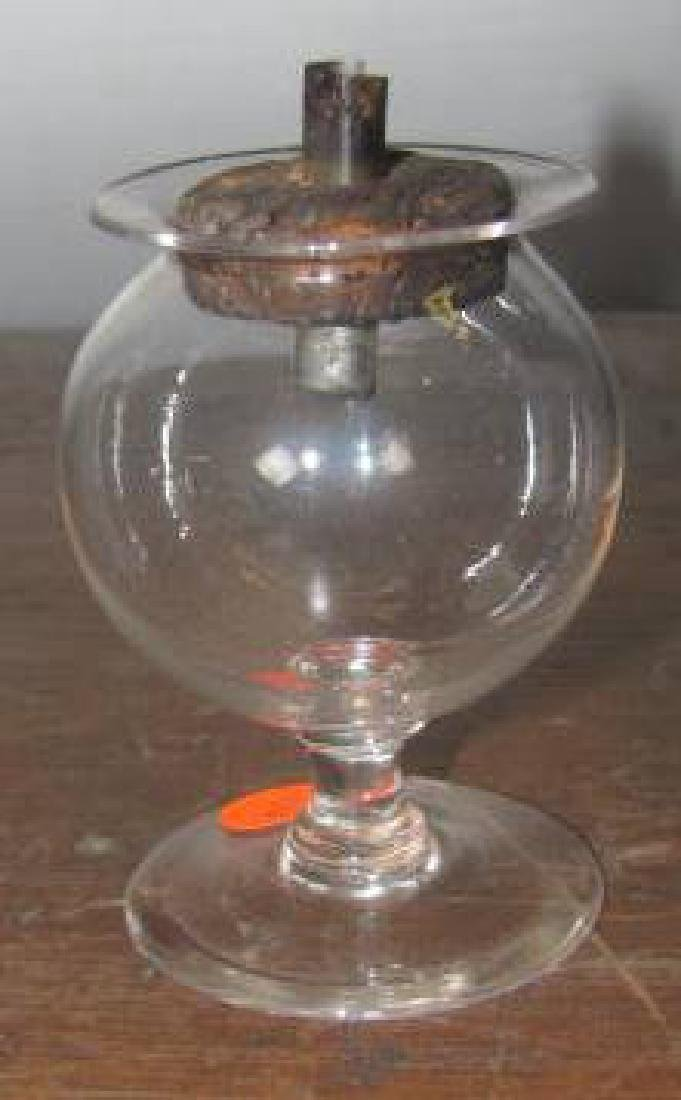Blown Flint Funnel Base Lamp