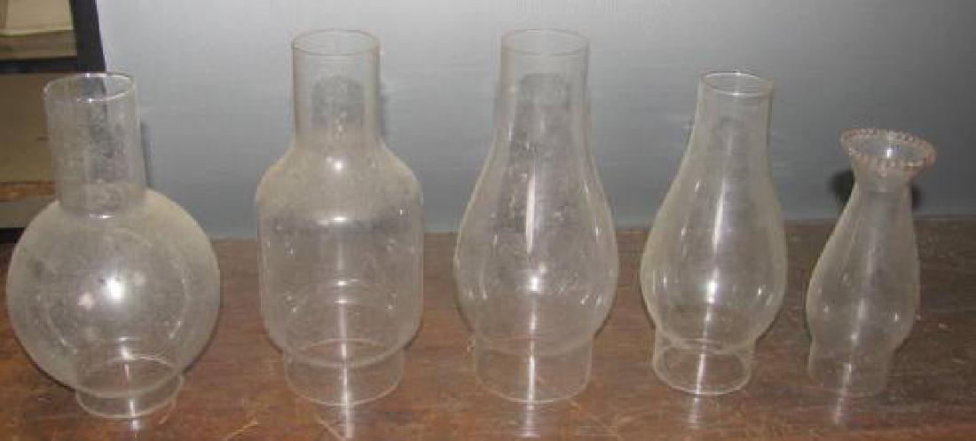 5 Oil Lamp Chimneys