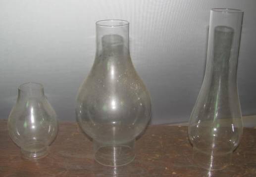 3 Oil Lamp Chimneys