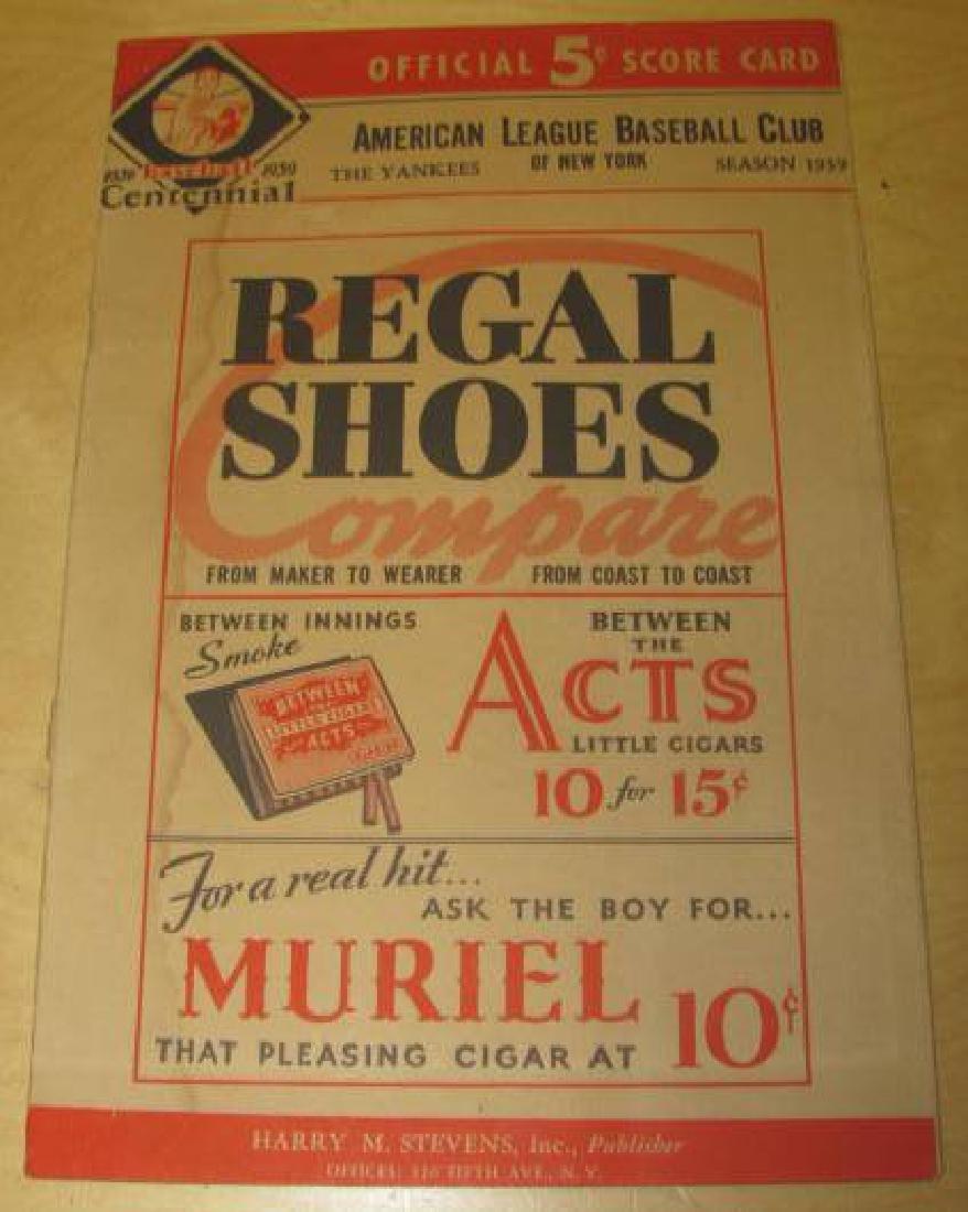 1939 NEW YORK YANKEES BASEBALL PROGRAM