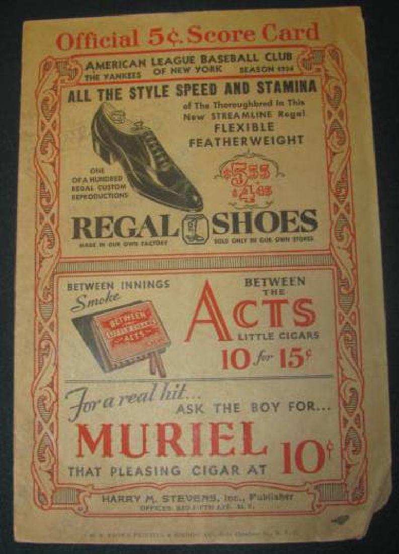 1934 New York Yankees Baseball Program
