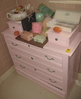 Pink Painted Dresser & Contents