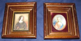 2 Paintings in Deep Walnut Frames