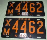 (2) 1960 NJ Commercial License Plates