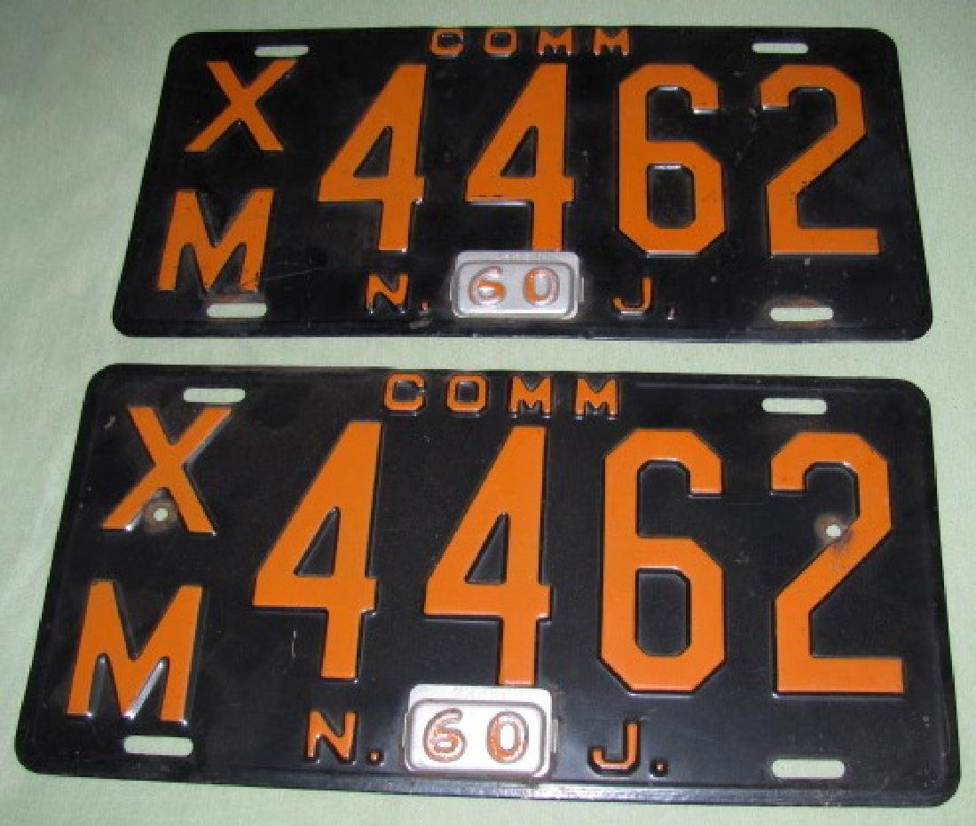 (2) 1960 NJ Commercial License Plates