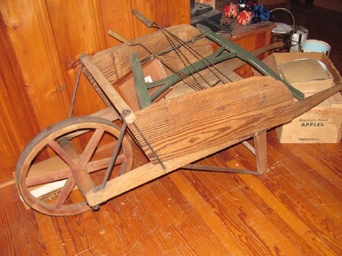 Wooden Wheel Barrow Saw Rug Beaters
