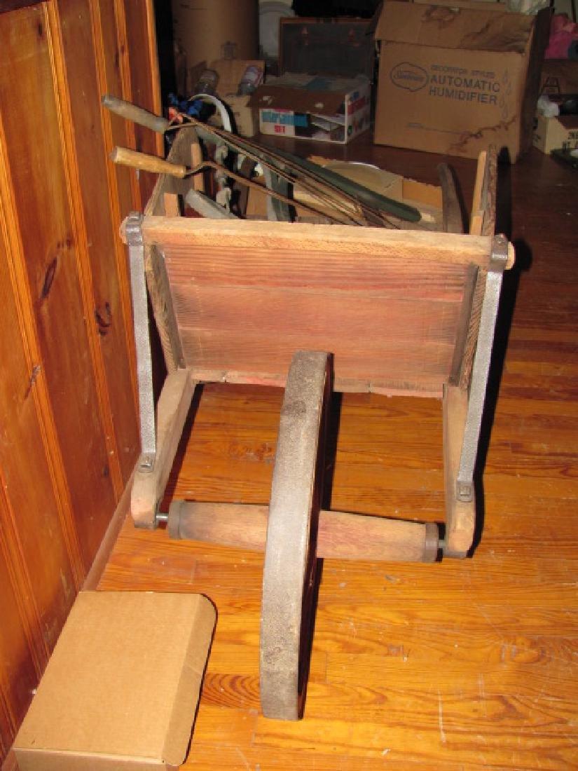 Wooden Wheel Barrow Saw Rug Beaters - 2