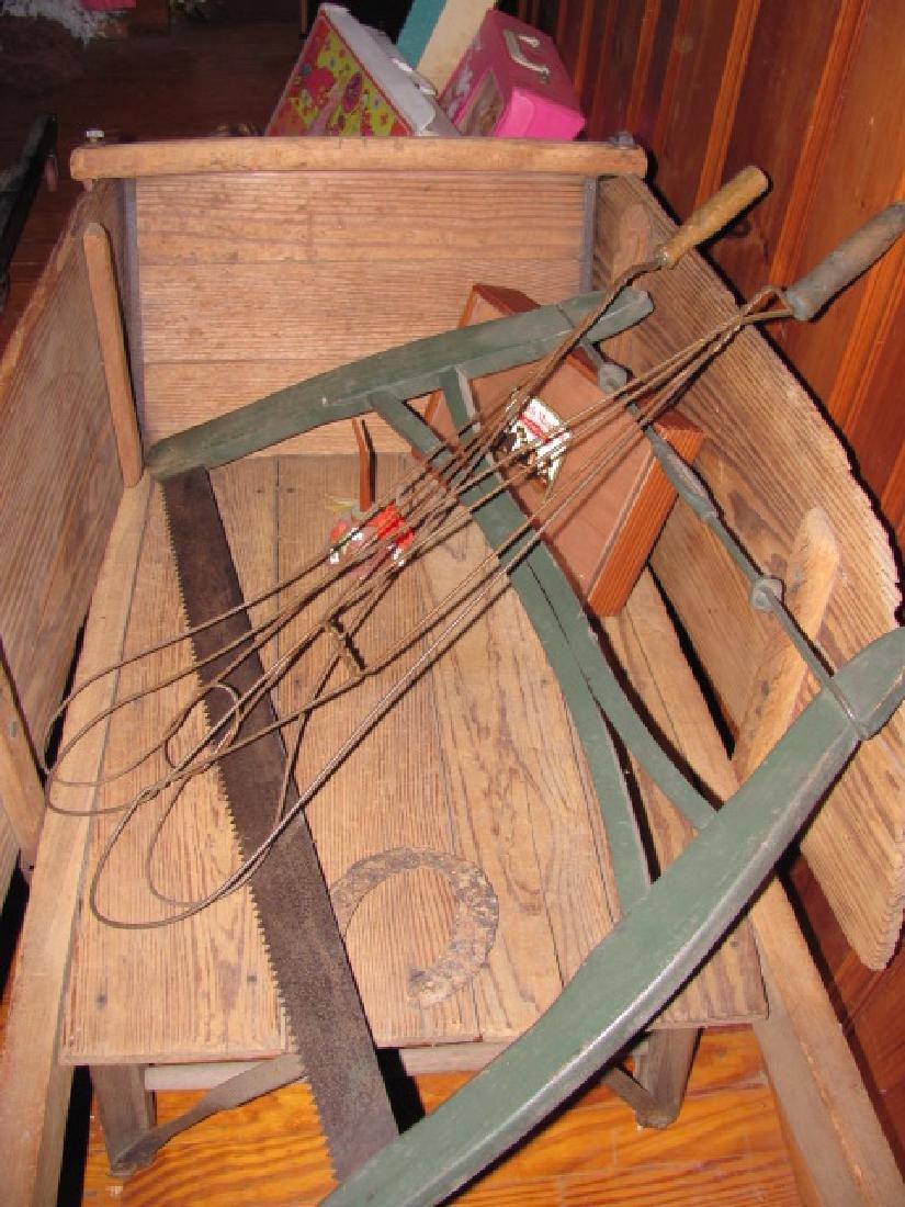 Wooden Wheel Barrow Saw Rug Beaters - 3