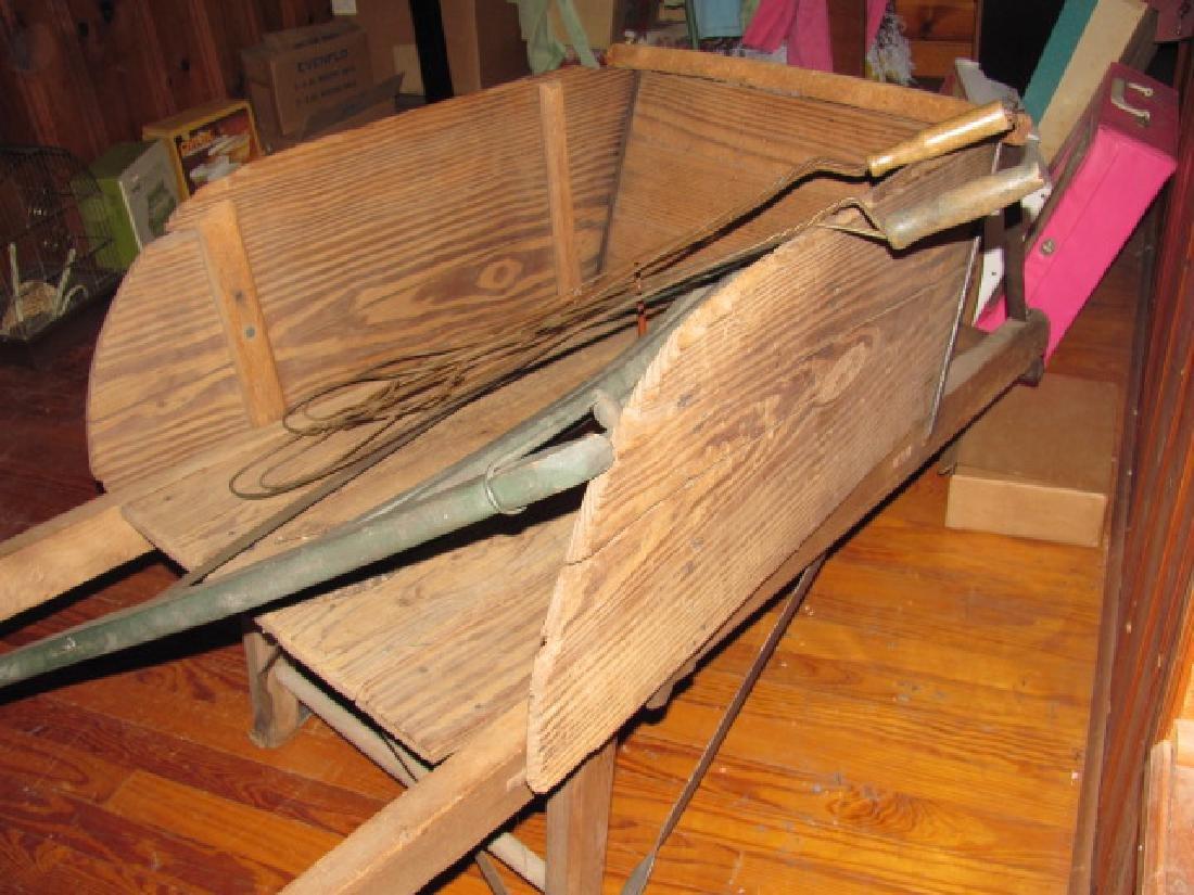 Wooden Wheel Barrow Saw Rug Beaters - 4