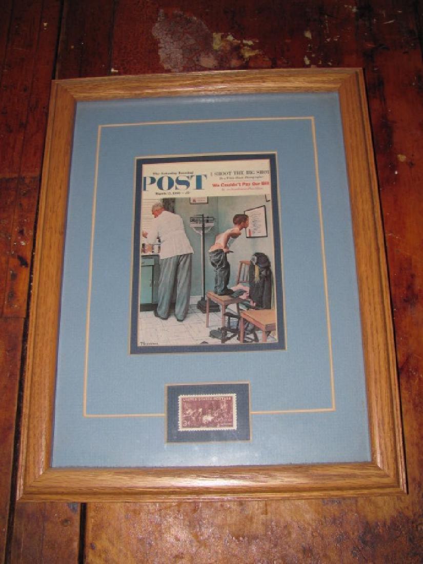 Framed Norman Rockwell Print & Stamp