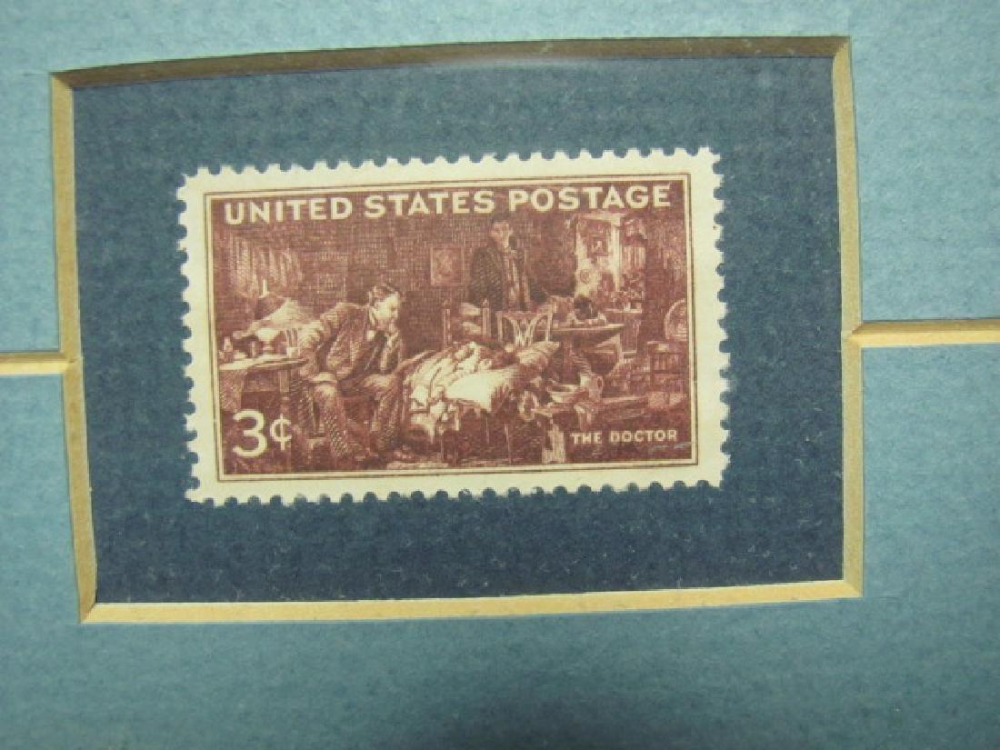 Framed Norman Rockwell Print & Stamp - 2