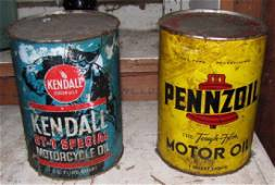 Kendall Motorcycle Oil & Pennzoil Oil Cans