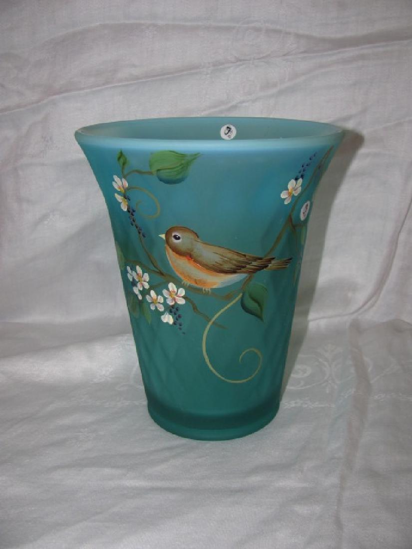 Hand Painted Bird Fenton Vase