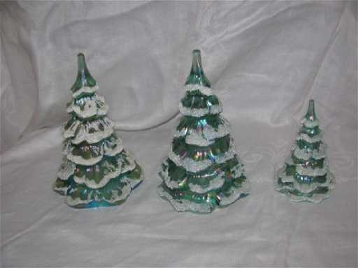 - 3 Fenton Glass Frosted Christmas Trees