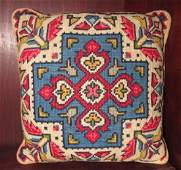Indian Design Needle Point Pillow