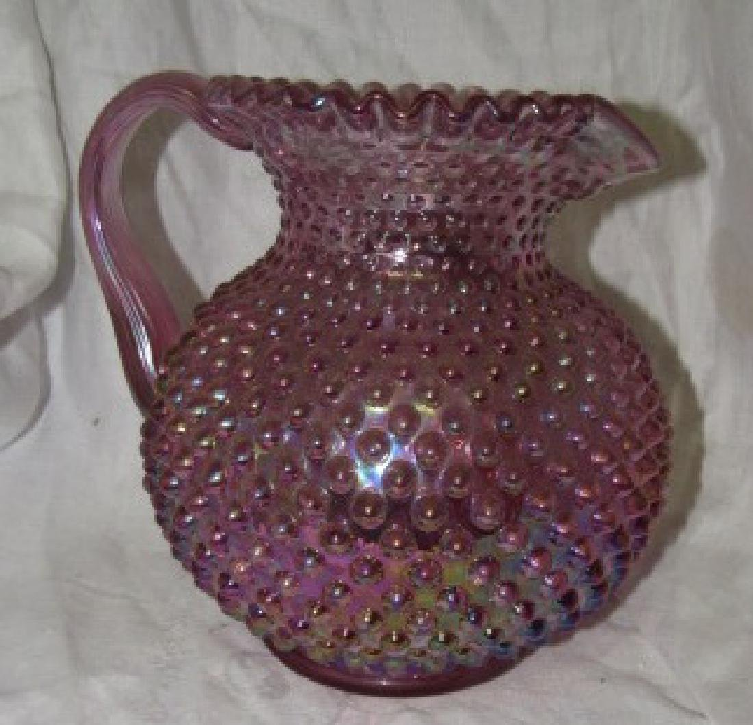 Fenton Iridescent Hobnail Pitcher