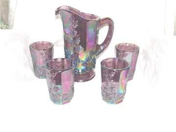Fenton Art Glass Grape Water Set