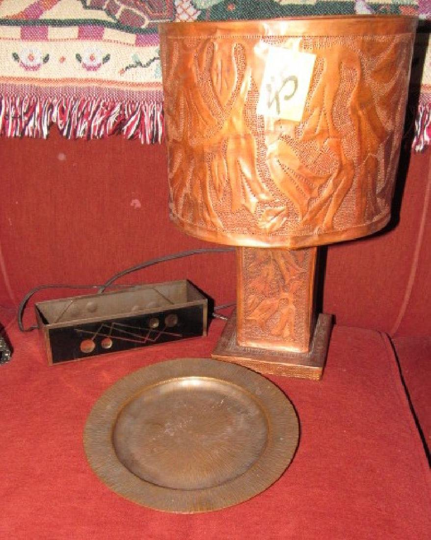 Hammered Copper Plate , Lamp, & Brass Tray