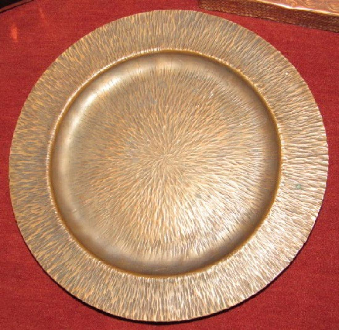 Hammered Copper Plate , Lamp, & Brass Tray - 2